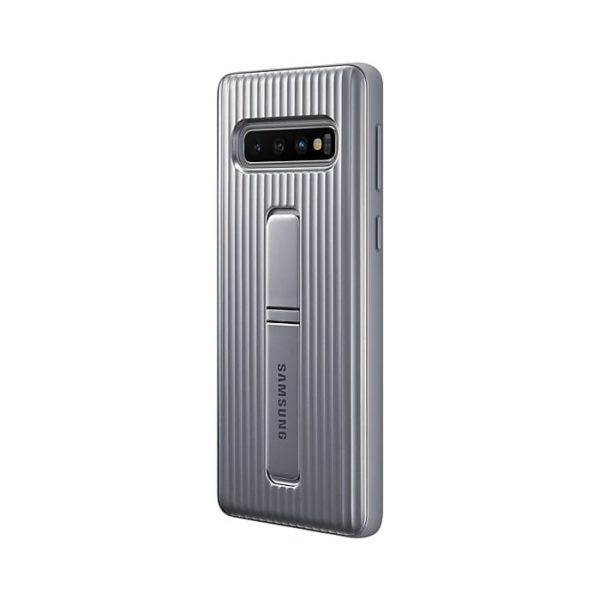 Samsung Galaxy S10 Protective Standing Cover Silver retro