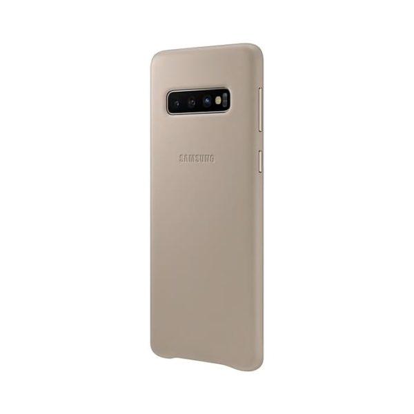 Samsung Galaxy S10 Leather Cover Gray lato