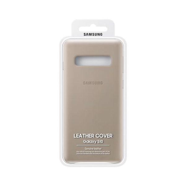 Samsung Galaxy S10 Leather Cover Gray confezione
