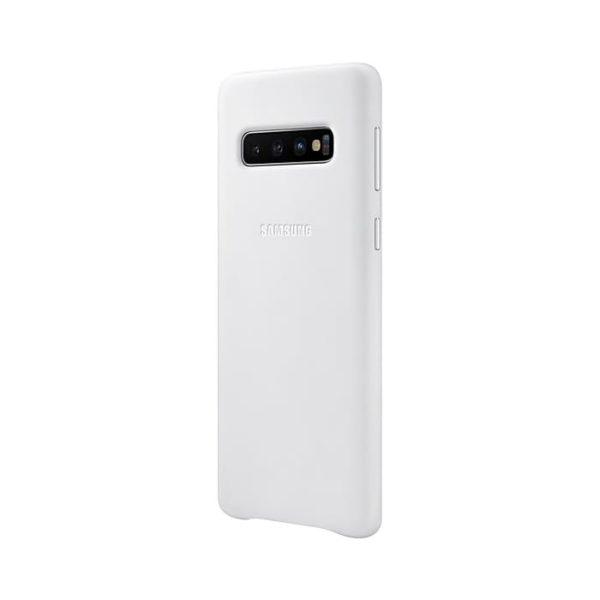 Samsung Galaxy S10 Leather Cover White lato