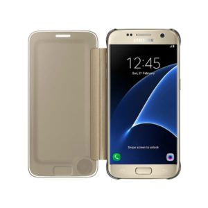 Samsung Galaxy S7 Clear View Cover Gold apertura