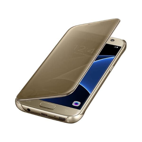 Samsung Galaxy S7 Clear View Cover Gold custodia