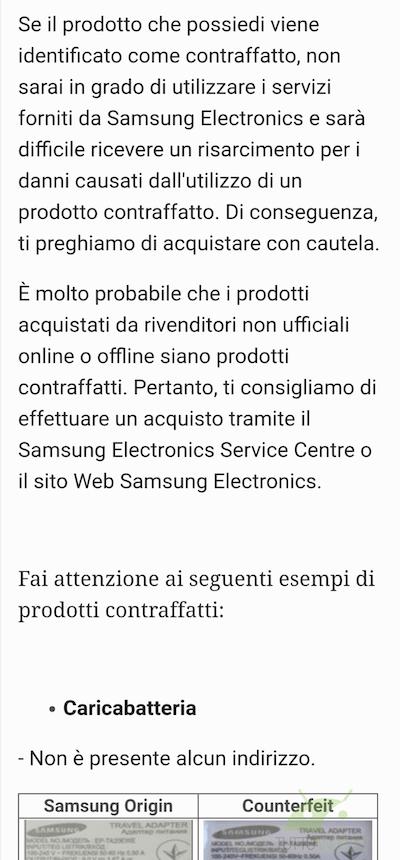 accessori contraffatti comunicato samsung