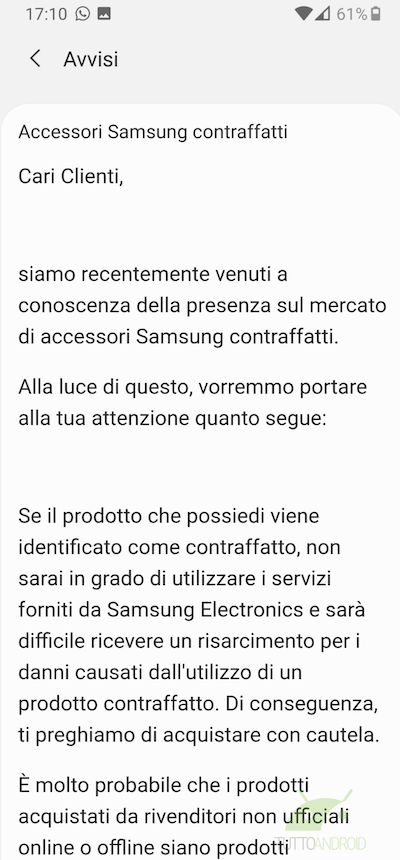 comunicato samsung accessori contraffatti