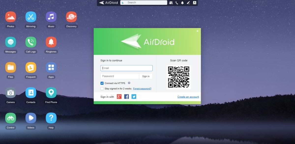 collegare smartphone a pc con airdroid
